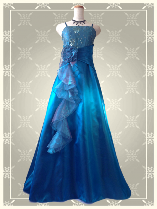 Belleブルー ロングドレス 9080 演奏会 ラミューズドレス通販