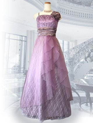 【M/L】Jolie・ラベンダー レース ロングドレス 3253  演奏会 ラミューズドレス通販