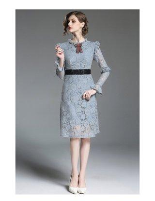長袖ワンピース*ピンク・グレー 6170 演奏会ロングドレス