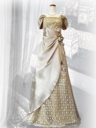 サルビア・ゴールドベージュ お袖付きロングドレス3251/ 演奏会 ラミューズドレス通販