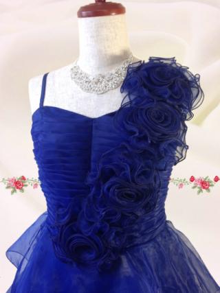 【Lサイズ】Prettyブルー ティアードロングドレス  6533  /演奏会 ラミューズドレス通販