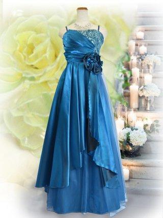 【M.L】着やせドレス♪1601ルノワールブルー/ラミューズドレス通販