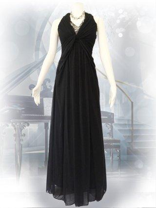 ブラック*ホルターネックロングドレス4939/演奏会ステージドレス
