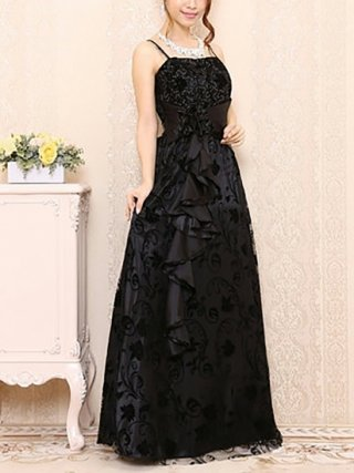 【Lサイズ】ブラック・ロマンスのロングドレス 3156演奏会 伴奏・オーケストラ