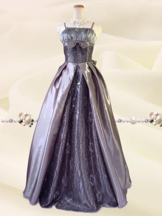 クラシカルプリンセス♪シルバー*ロングドレス 1612 演奏会 ステージ衣装