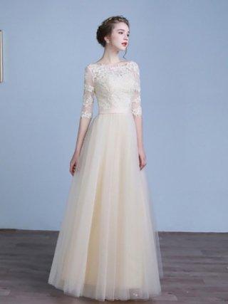 【予約1.2か月】【XL】リトルシャンパンベージュ・プリンセスロングドレス HH-10 少しダメージあり