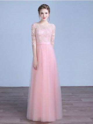 【L・XL】リトルピンク・プリンセスロングドレス HH-10 演奏会ステージドレス
