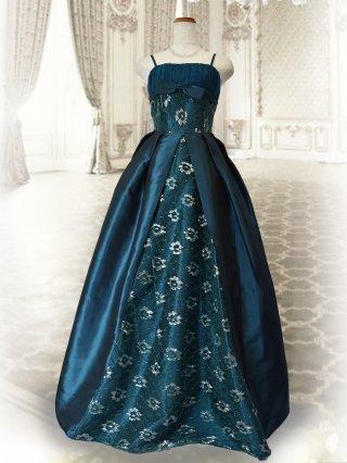 クラシカルプリンセス♪グリーン ロングドレス 6676 演奏会 ステージ衣装