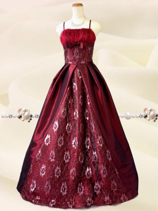 クラシカルプリンセス♪ワインレッド ロングドレス 6676 演奏会 ステージ衣装