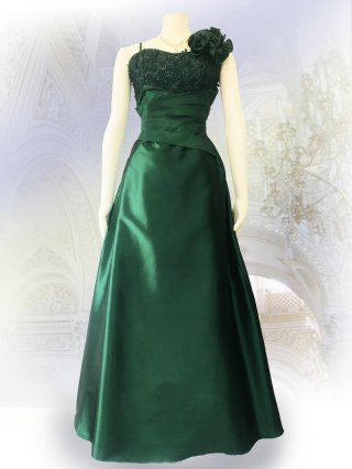 ベーシックな演奏会ドレス*グリーン*ロングドレス 演奏会 ラミューズドレス通販