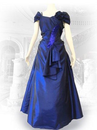 【4L大きいサイズ】ロイヤルブルーカーブストーン袖付ステージロングドレス1801 /演奏会