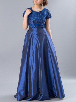ルネサンス・ブルーの袖付ステージドレス  4104 /演奏会 ラミューズドレス通販