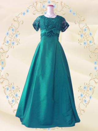 【染料落ちやすい】【Lサイズ】ルネサンス・グリーンの袖付ステージドレス  4104 /演奏会