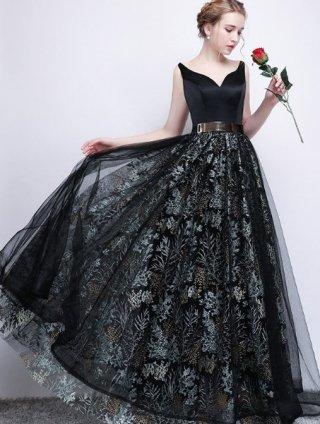 【予約1.2か月】ゴールドベルト付*刺繍スカートロングドレス*ブラック 573 演奏会ステージドレス