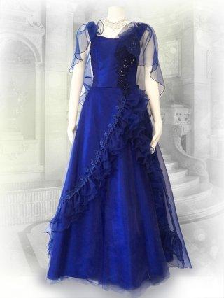 クリスタルケープ ロイヤルブルーのロングドレス8563演奏会ステージドレス