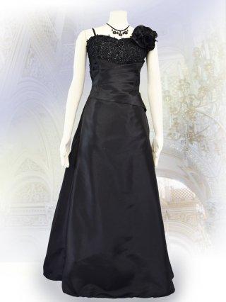 ベーシックな演奏会ドレス*ブラック*ロングドレス 演奏会 ラミューズドレス通販