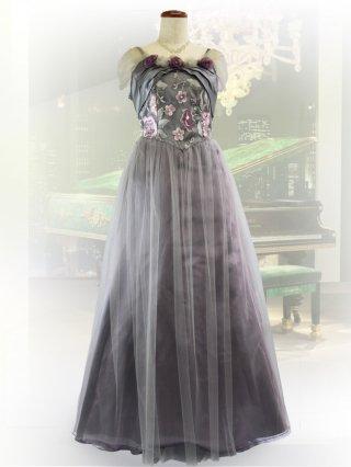 【3L】シルバーローズ*オフショルダー袖付きドレス9987/ラミューズドレス 演奏会