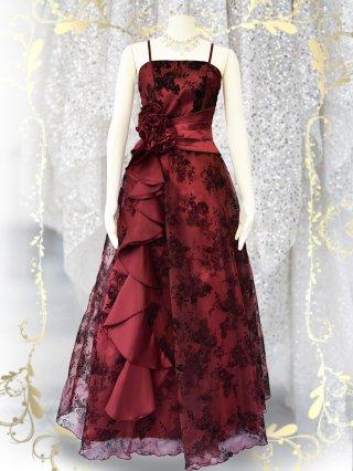 ドラマティックロングドレス ショール付き・ワインレッド 0216 / 演奏会 ラミューズドレス通販