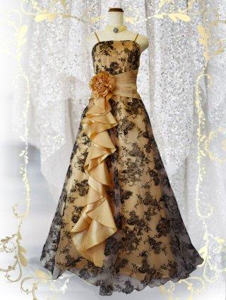 【少しダメージあり】ドラマティックロングドレス ショール付き・ゴールド0216 / 演奏会 ラミューズドレス通販