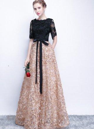 【XS-XLまで】3Dフラワードレス*お袖付ロングドレス ブラック*ベージュ 115 演奏会ステージドレス