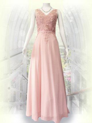 ビーディングロングドレス ピンク 5586/ 演奏会 ラミューズドレス通販