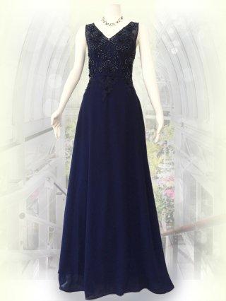 ビーディングロングドレス ネイビー 5586/ 演奏会 ラミューズドレス通販