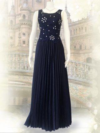 【9-15号!!】PARIS ネイビープリーツロングドレス 1760演奏会 ラミューズドレス通販