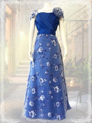 【3L】ロイヤルブループリント*オフショルダー袖付きドレス9976/ラミューズドレス 演奏会
