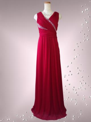 流線ビーズ ワインレッドのロングドレス 6857 / 演奏会 ラミューズドレス通販