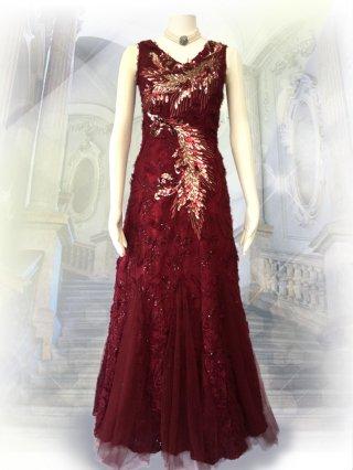 ファイヤーバード*ワインレッドのロングドレス3070演奏会 ラミューズドレス通販