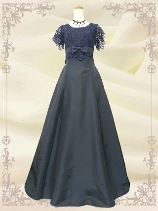 【Lサイズ】ルネサンス・ブラックの袖付ステージドレス  4104 /演奏会 ラミューズドレス通販