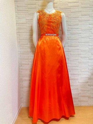 【M・L】ダリアオレンジ*ロングドレス 1805演奏会 ラミューズドレス通販