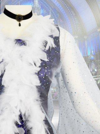 ホワイト*ロングファーボレロ*ショール*お袖付き/ 演奏会 ラミューズドレス通販