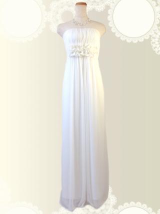 マカロンカラー☆ホワイト・コサージュ付ロングドレス4849/ 演奏会 ラミューズドレス通販