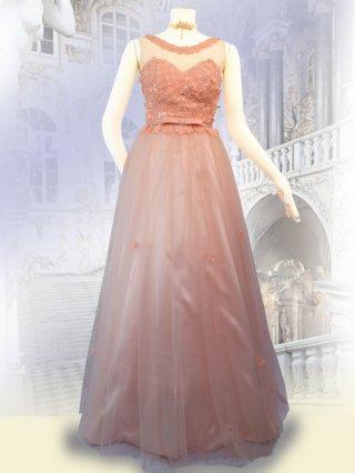 【S・M】セレモニーピンク*桜色*ノースリーブ ロングドレス 演奏会ステージドレス