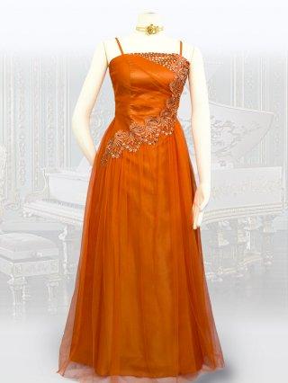 【背の低い方に】オレンジ・リトルロングドレス 1479/ 演奏会 ラミューズドレス通販