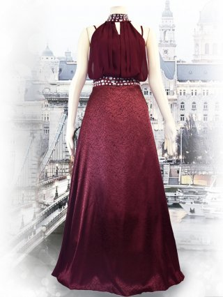【M・Lサイズ】ホルターネック*ローズプリント*ワインレッドロングドレス 2104/演奏会ステージドレス