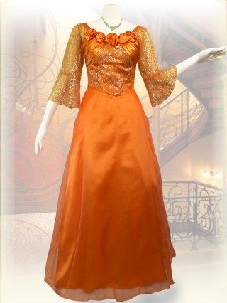 【L】フレアスリーブ*オレンジ*5分袖ロングドレス 0083/ 演奏会 ラミューズドレス通販
