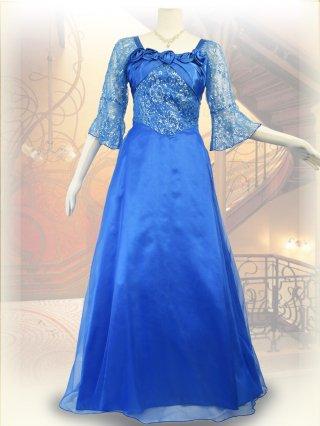【L】フレアスリーブ*ブルー*5分袖ロングドレス 0083/ 演奏会 ラミューズドレス通販