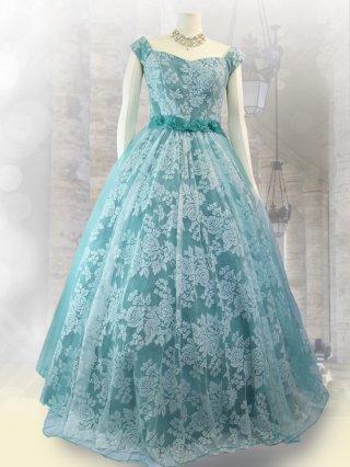 【21-23号】プリンセス*レースグリーン演奏会ロングドレス3010*リサイタルドレス