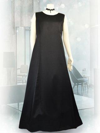 【3L・背の低い方に】サテンフレアーロングドレス*ブラック1743*演奏会衣装