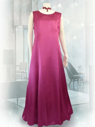 【3L・背の低い方に】サテンフレアーロングドレス*ローズ1743*演奏会衣装