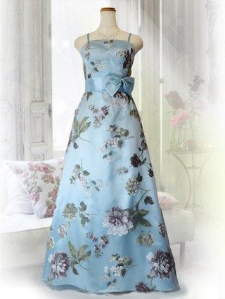 プリンセスフローラルドレス・ブルーの ロングドレス 2483