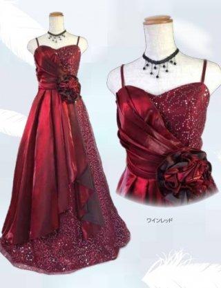 【背の低い方に】スパンコールの着やせドレス♪ワインレッド6141/ラミューズドレス通販