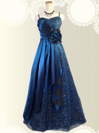 【背の低い方に】スパンコールの着やせドレス♪ネイビー 6141/ラミューズドレス通販