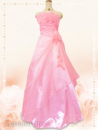 薔薇のカラードレス ベビーピンク5760/演奏会 ラミューズドレス通販