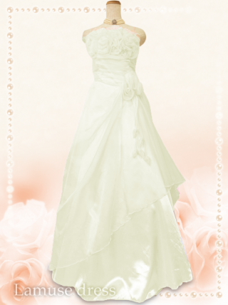 薔薇のカラードレス オフホワイト*5760/演奏会 ラミューズドレス通販