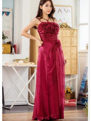 赤い薔薇のブーケロングドレス*レッド5760/演奏会 ラミューズドレス通販