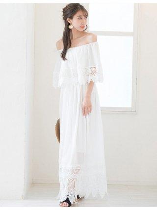 クロシェレース*シフォン3WAYワンピースドレス*ホワイト演奏会ステージドレス