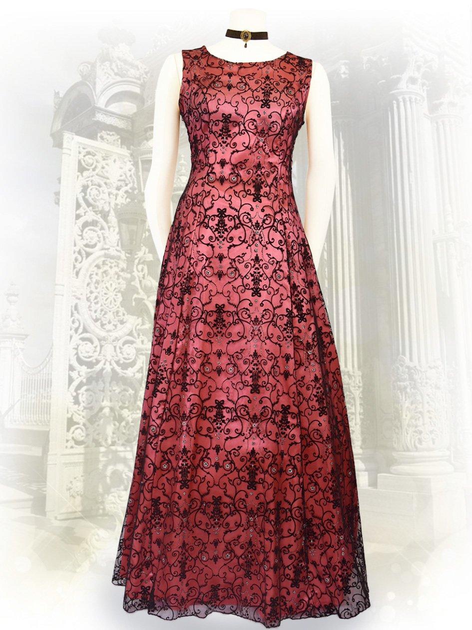 1231e300a9bfd ゴシック*ピンク*フロッキー刺繍ノースリーブロングドレス7502 演奏会ステージドレス